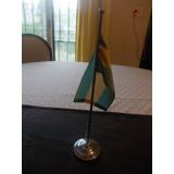 Antiguo Mastil Para Escritorio Con Bandera Argentina