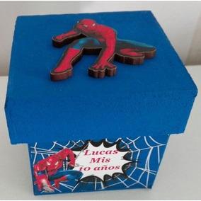 10 Cajitas Souvenirs Fibrofacil Hombre Araña