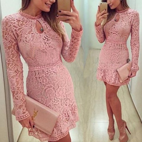 Vestido Coktel Noche Dia Casual Moda 2018 Encaje Teñido Rosa