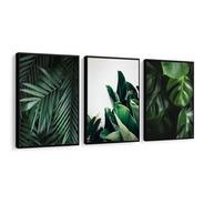 Quadro Folhas Verdes Costela De Adão Lindos Moldura 120x60cm