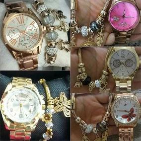 Kit 5 Relógios Feminino C/pulseira+caixa De Metal Atacado