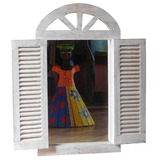 Quadro Espelho Tipo Janela Veneziana Madeira Rústico 50/42