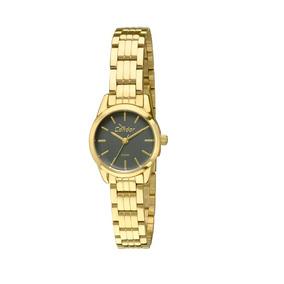 Relógio Feminino Mini Dourado Preto Eterna Condor