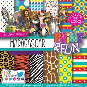 Kit Digital Editavel Scrapbook Madagascar Fundo Animal Circo