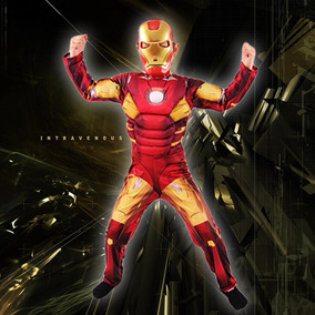 Fantasia Cosplay Muscular Homem De Ferro Iron Man Adulto