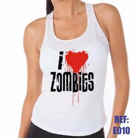 Camiseta Regata Nadador I Love Zombies Zumbi Personalizado