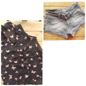 Conjunto Short Jean + Camisa Gasa
