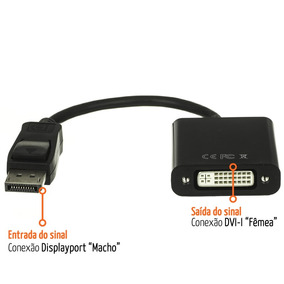 Adaptador Displayport X Dvi-d 24+1 Dual Link Digital 1920pxl