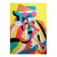 Cuadros Hombre Lobo Madera Original 40x60
