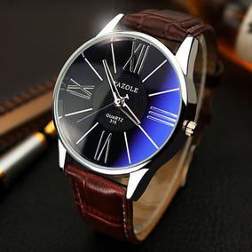 Relógio Quartz Masculino Com Correia De Couro Falso - Pret