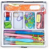 Kit Agujas Crochet Y Accesorios Tejido En Caja Organizadora