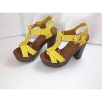 Zapatillas Color Amarillo, Cruzadas, Moda Tacón 13cm Piel