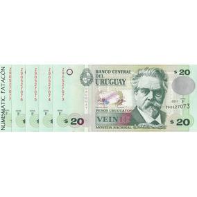 Billete 20 Pesos Uruguay Reposicion Correlativos Sin Circula