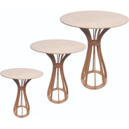 Trio 3 Mesa Cilindro Mdf Festa Mini Table Pmg