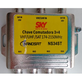 Chave Comutadora Switch Eletrônica 3x4 2satelites + Uhf Vhf