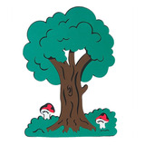 Painel Em Eva - Árvore Media C/ Cogumelo