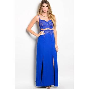 Vestido Fiesta Azul Rey Largo Elegante De Tirantes