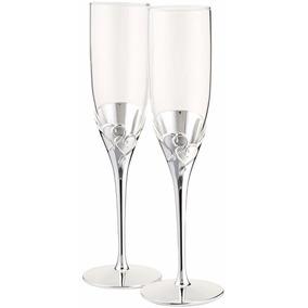 Copas Brindis Novios Boda Champagne Personalizadas Plata Oro