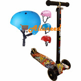 Monopatin Maxi Scooter Niños 4 Ruedas Luces Led + 1 Casco