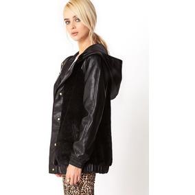 Envío Gratis Chamarra Faux Leather Con Peluche Forever 21 M