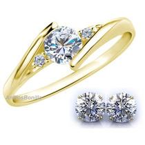 Anillo Y Broqueles Hermosos En Oro 14k Con Diamantes Ruso
