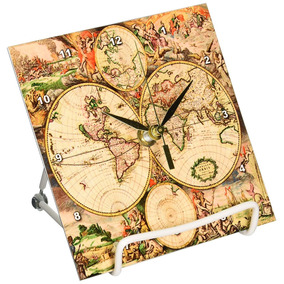 Mute world map shape personality wall clock en mercado libre mxico 3drose llc world map 1689 6 by 6 inch desk clock gumiabroncs Image collections