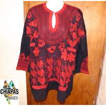 Exclusiva Blusa De Chiapas Bordada A Mano / Plus Size /manta