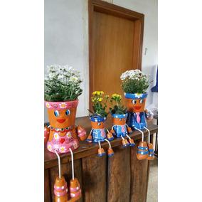 Familia De Vasos Bonecos/ Para Flores 4/pç