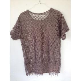 Blusa De Dama De Encaje,marrón De Seda. Hermosa Talla Grande