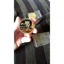 Moeda Entrega Da Bandeira Banhada + 4 Moedas Banhadas A Ouro
