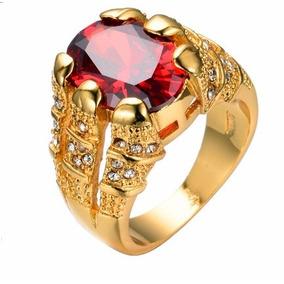 Anel Masculino Folheado Ouro18k Pedra Vermelha Granada Aro25