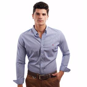 Camisa La C Mini Cuadro Marino Con Blanco Bata Azul