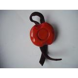 Antiguo Prendedor Redondo Plástico Naranja Y Cuero Años