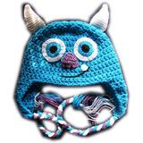 A Pedido Gorros Monstruos Niños Orejeras Trenzas Crochet