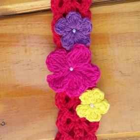 Vincha Tejida Crochet Vinchita Flor Flores Nena Bebe Beba