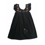 Vestido Para Niña Tradicional Negro, Bordado A Mano, Aripo