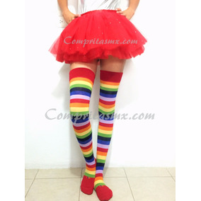 Media Calceta Multicolor Rainbow Arcoiris Lolita Sexy Payaso