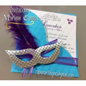 Invitaciones,15 Años, Bodas, Cumpleaños, Máscara Carnaval