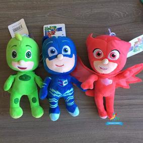 Kit 3 Pelucias Herois De Pijamas Pj Masks Música Importado