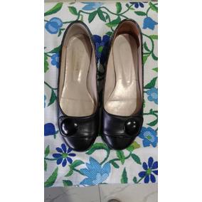 Zapatos De Cuero Taco Bajo Tipo Chatitas- Como Nuevos