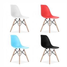 Silla Diseño Eames Dsw Polipropileno Y Madera Varios Colores