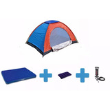 Combo Carpa 3p +colchon Inflable Doble +almohada+inflador