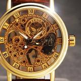 Reloj Clásico Estilo Oro A Cuerda Malla Cuero Mas Colores