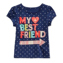 Camisa Epic Threads Nina 2t My Best Friend Azul Manga Corta