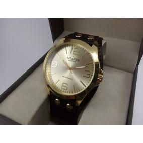 Relógio Atlantis Feminino Pulseira De Couro - Tipo Bracelete