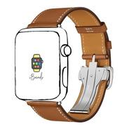 Pulseira Ibands Couro Legítimo Deployant Para Apple Watch