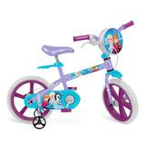 Bicicleta Criança 4 A 6 Anos Aro 14 Menina Frozen C/ Bolsa
