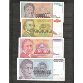 Colección De 4 Billetes De Millones De Yugoslavia