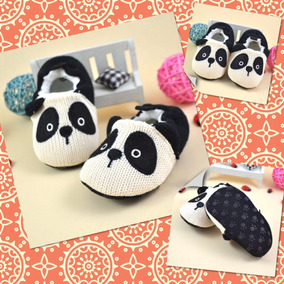 Pantuflas Modelo Panda P/ Bebe, Tejido De Punto. (12/13 Cm.)