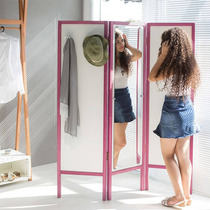 Biombo Ammy Com Espelho E 3 Asas Em Mdf Branco / Magenta
